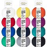 Mix colorato 100% cotone mercerizzato - 600g cotone (12 x 50g) - Öko-Tex Standard 100 - filato brillante per maglieria e uncinetto - set di filati in cotone in 12 colori di fairwool