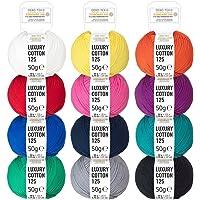 100% Baumwolle Bunter & Mercerisierter Mix - Oeko-Tex 100 zertifizierte Wolle zum Stricken Häkeln & Basteln - Baumwollgarn Set in 12 Farben by Hansa-Farm - 600g (12x50g)
