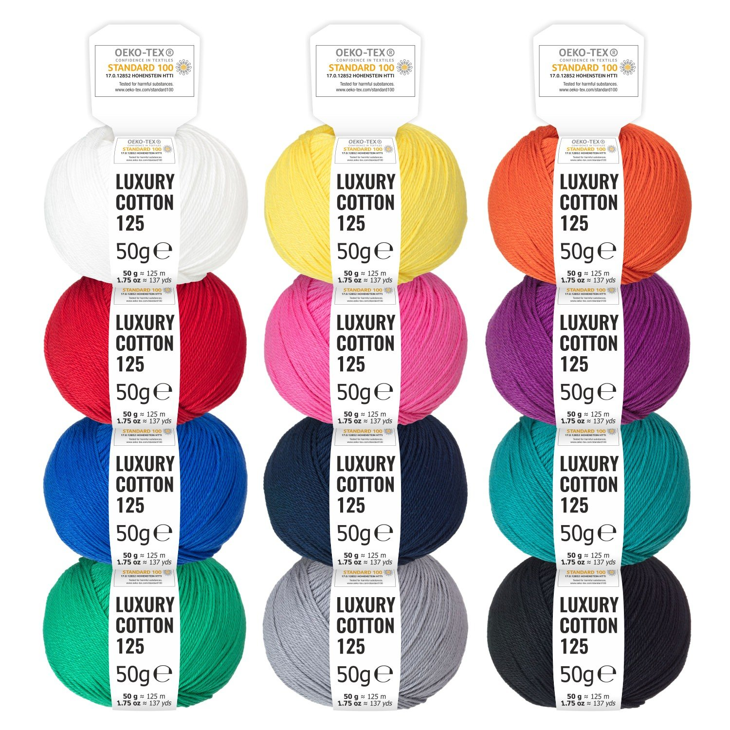 100% Cotton Mixed Colours - 600g (12 x 50g) - Oeko Tex Standard 100 shiny wool for knitting and crochet - cotton yarn set in 12 colours by fairwool Marten Handels GmbH