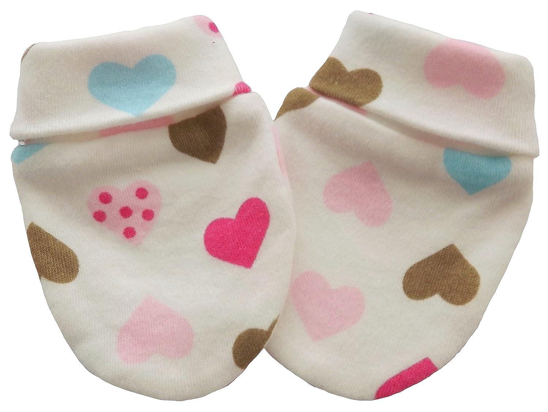 Manoplas antiarañazos para bebé orgánico del algodón recién nacido anti Multi Color corazones Multi-Color Hearts Talla:6-12 meses Individual Company