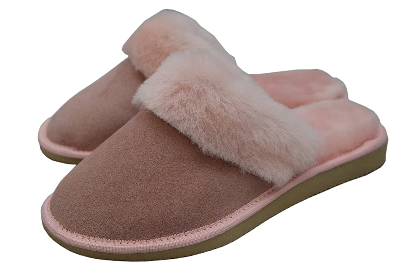 b971a2d83ab3 Dark Womens Luxury Lightweight Handmade Genuine 100% Sheepskin Slippers  Mules with Sheep s Fur Lining  Amazon.co.uk  Shoes   Bags