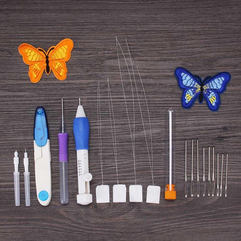 symboat bricolage ricamo penna da cucire strumento da cucire Kit Punch ago set 50/Fili Set