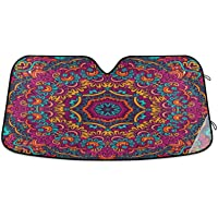 Oarencol Boho Ethnic Car Windshield Sun Shade Bohemian Mandala Paisley Foldable UV Ray Sun Visor Protector Sunshade to…
