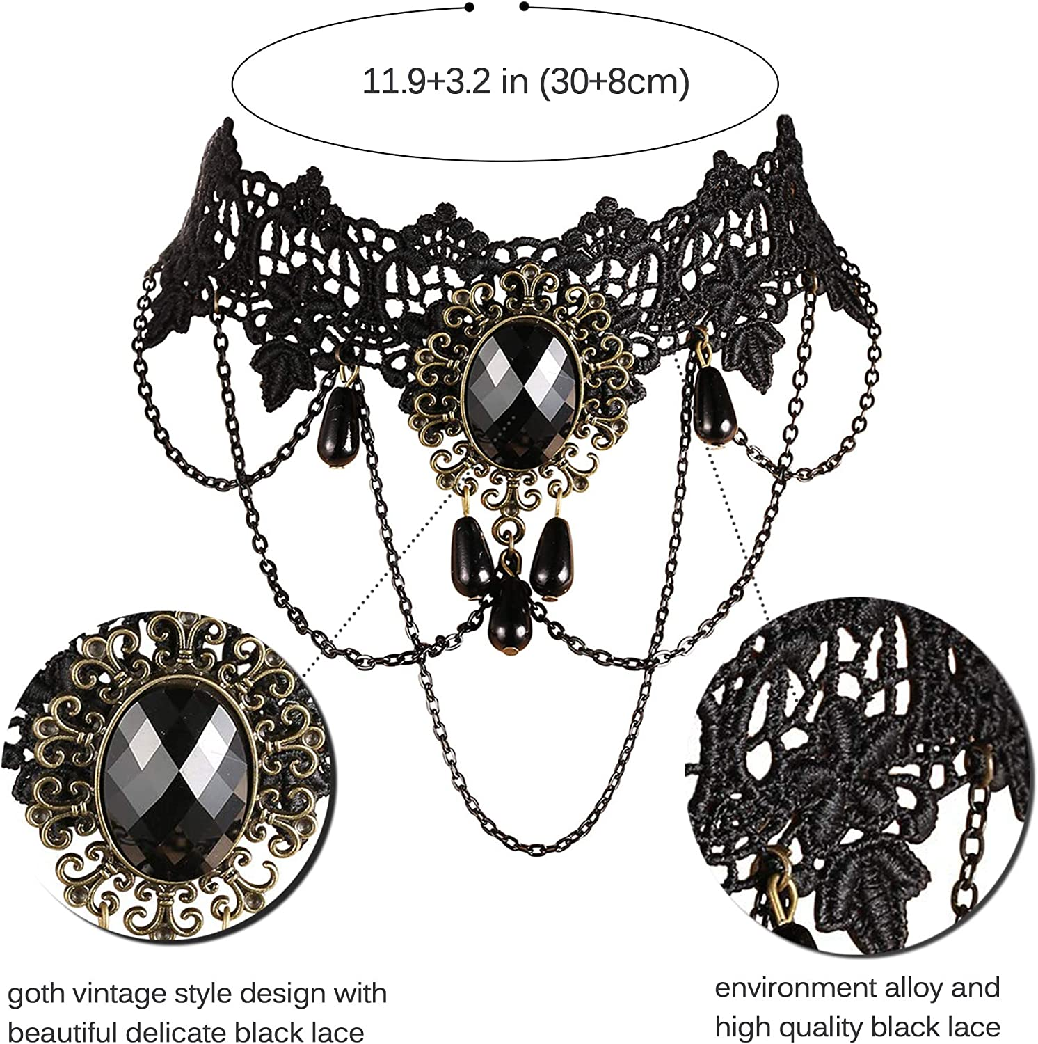 Lost in Lace • Lace Necklace with Red or Black gems