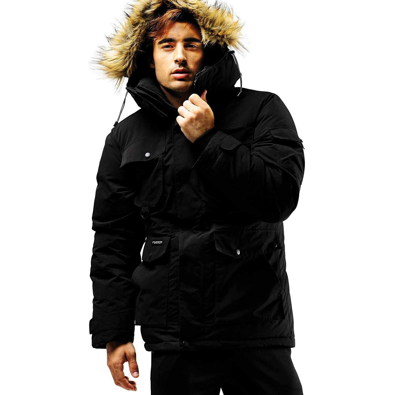Fuerza Mens Winter Down Wellon Raccoon Fur Hooded Parka Jacket Coat - Black Fuerza North America