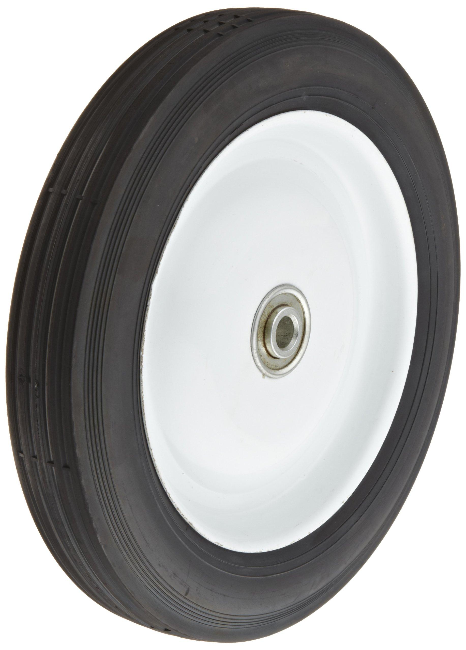 RWM Casters SNB-1017-08 Wheel with Semi-pneumatic Tire, 10'' Diameter, 1.75'' Width, 1/2'' Axle Hole Diameter