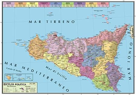 Sicilia Fisica Cartina.Carta Geografica Murale Sicilia 100x140 Bifacciale Fisica E Politica Amazon It Cancelleria E Prodotti Per Ufficio