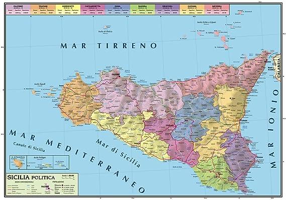 Cartina Puglia Fisica E Politica.Carta Geografica Murale Sicilia 100x140 Bifacciale Fisica E Politica Amazon It Cancelleria E Prodotti Per Ufficio