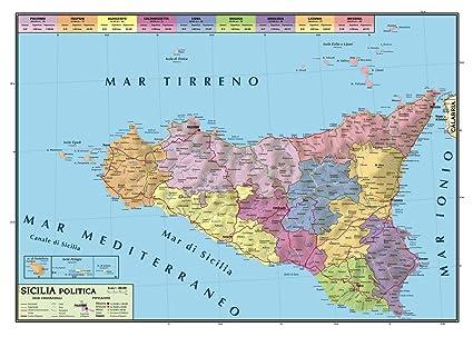 Cartina Sicilia Fisico Politica.Carta Geografica Murale Sicilia 100x140 Bifacciale Fisica E