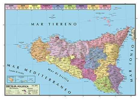 Cartina Politica Della Sicilia.Carta Geografica Murale Sicilia 100x140 Bifacciale Fisica E Politica