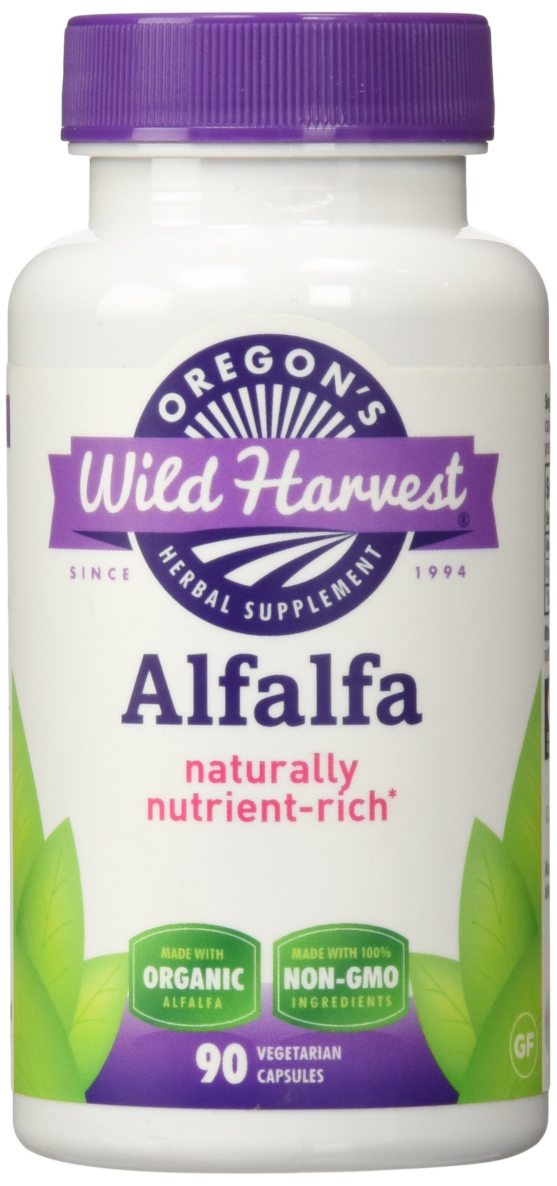 Oregons Wild Harvest Alfalfa Organic Supplement, 90 Count vegetarian capsules, 1200mg organic alfalfa tops