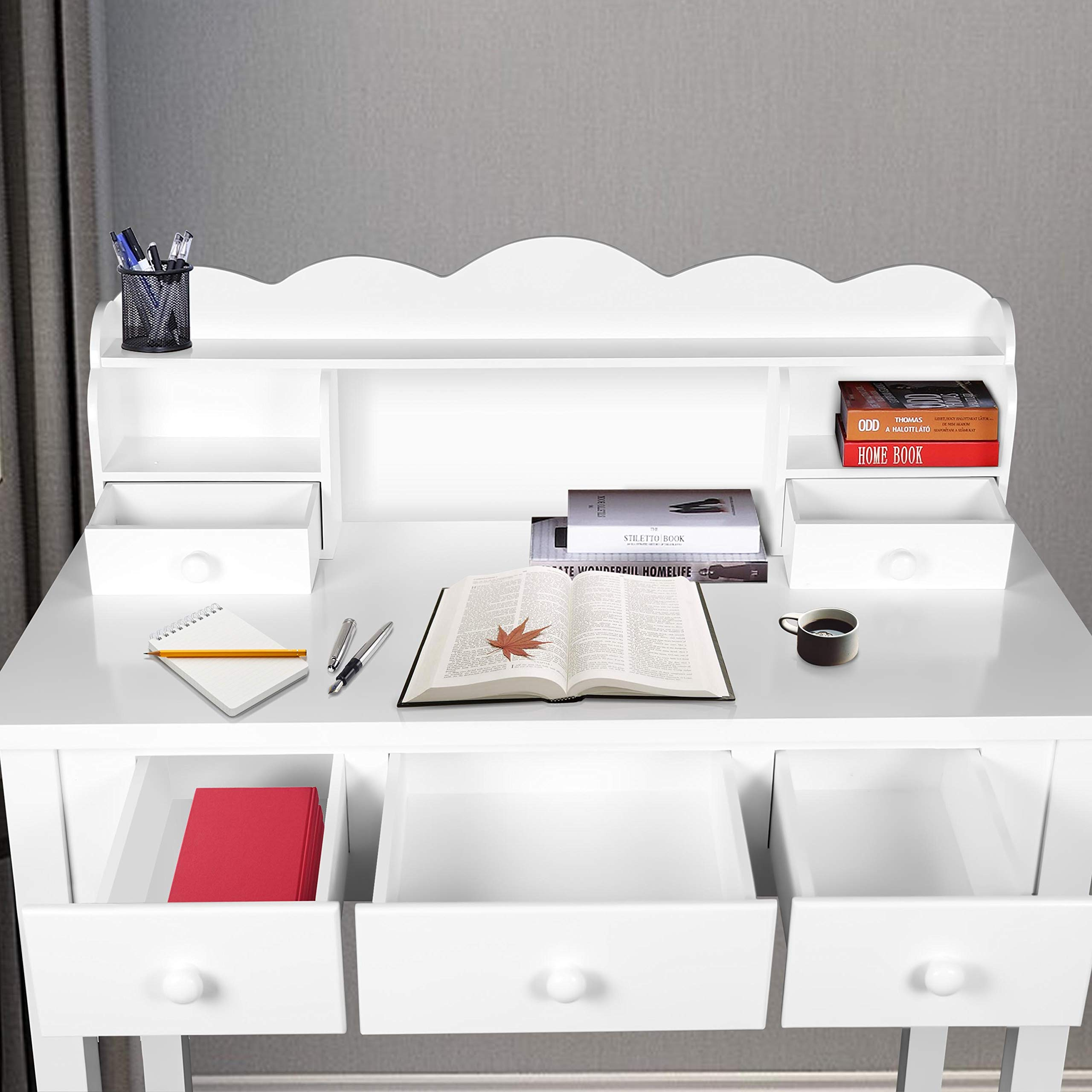 Home Office Furniture Writing Desk,Computer Work Station with Detachable Hutch,5 Drawers(White) by FUNKOCO (Image #3)