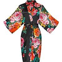 ALHAVONE Women's Rose Flowers Silky Satin Short Kimono Robe for Wedding Getting Ready