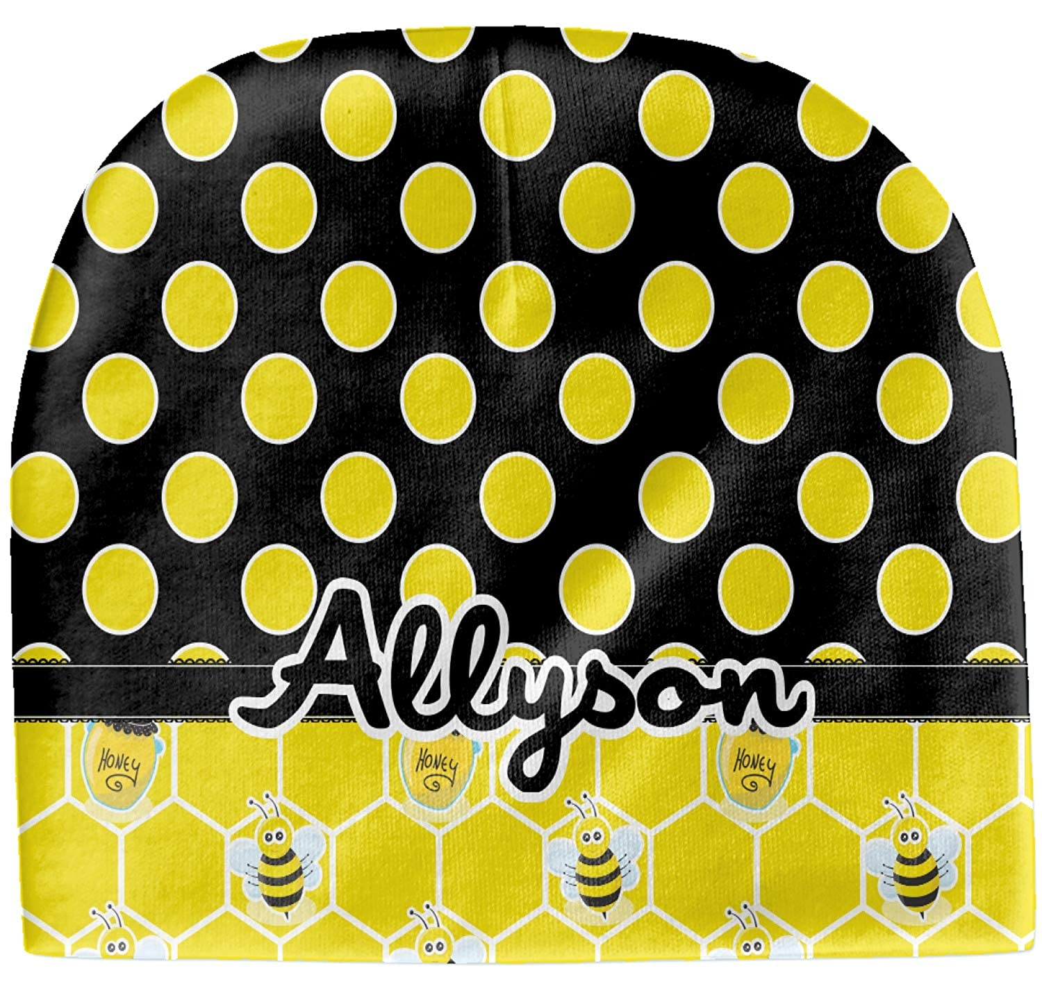 Beanie Honeycomb Personalized Yellow Bees /& Polka Dots Baby Hat