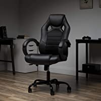 OFM Gaming Chair, Padded Loop Arms, High-Back, Black