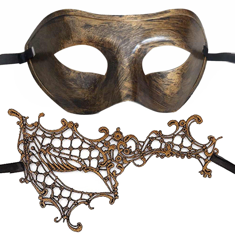 7Queen Couples Masquerade Mask Vintage Bronze Gold Venetian Halloween Costume Party Decor Men Women Mask Mardi Gras Mask