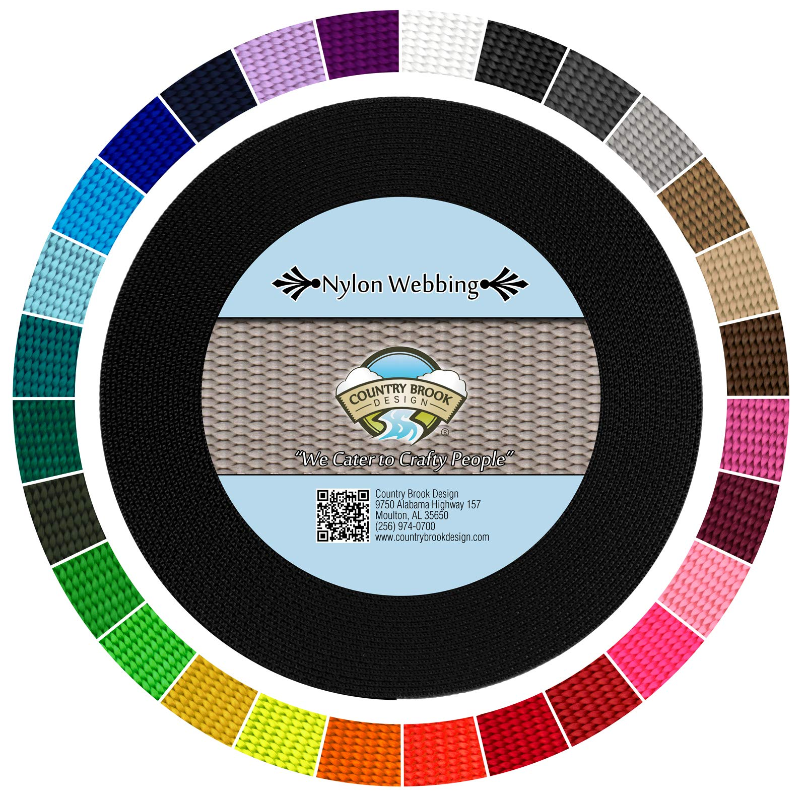 Country Brook Design   Durable 1 Inch Heavy Nylon Webbing   29 Vibrant Colors (Black, 20 Yards)