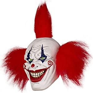 Halloween Evil Laughing Saw Clown Adult Mask Costume Creepy Killer Joker with Red Hair Cosplay Huanted House Props