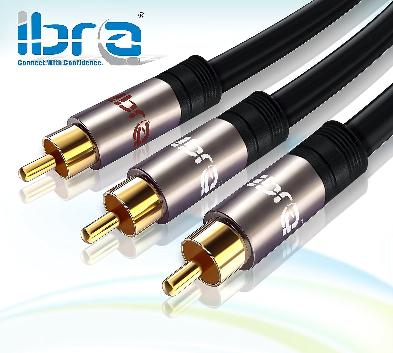 IBRA® 2m - Cable Y/Cable Subwoofer Audio | Cable Audio 1RCA Macho a 2 RCA Macho | Gun Metal: Amazon.es: Electrónica