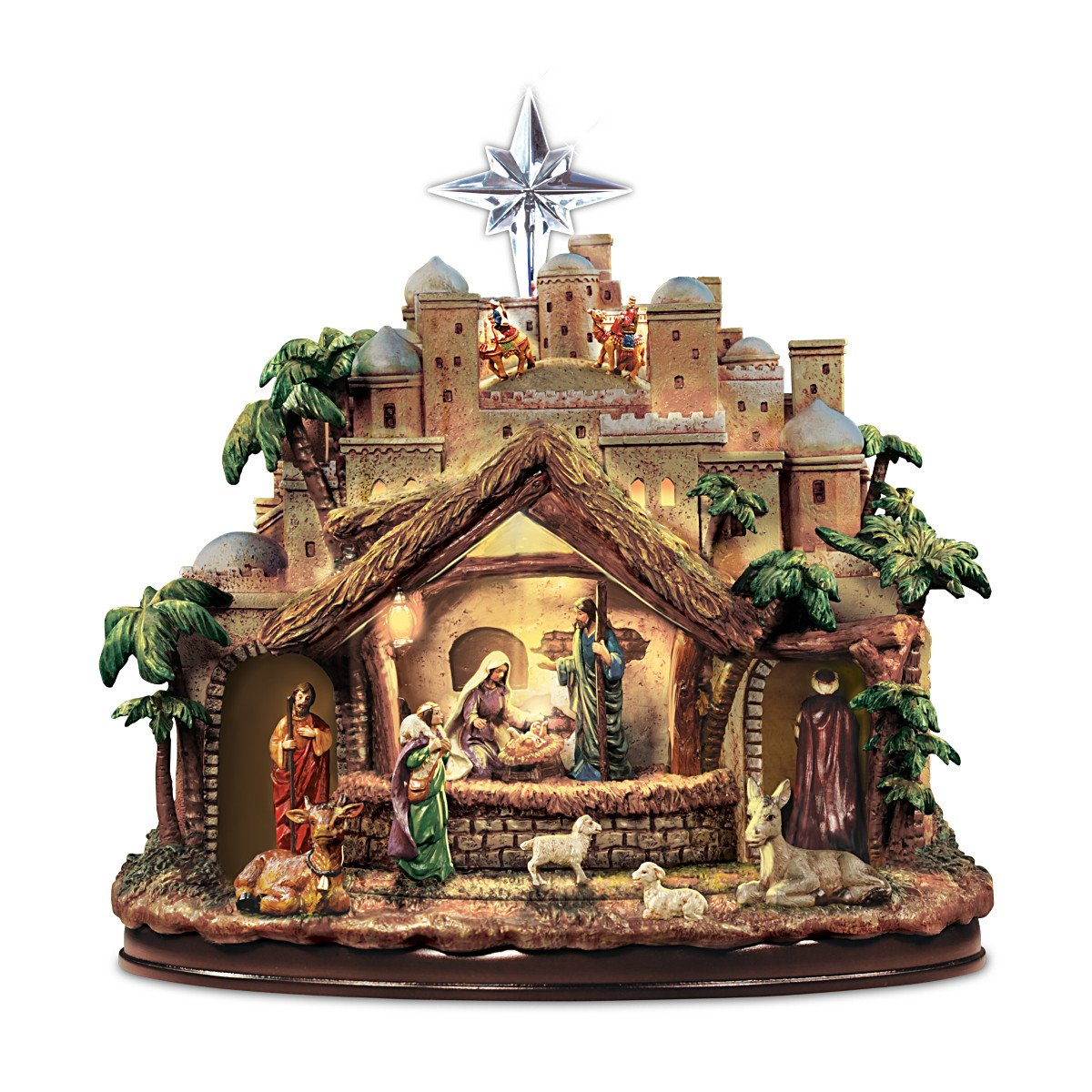 Thomas Kinkade Following the Star Nativity Sculpture Lights As Figures Move and the Musical Nativity Plays 4 Beloved Carols! - By Hawthorne Village 14-01680-001
