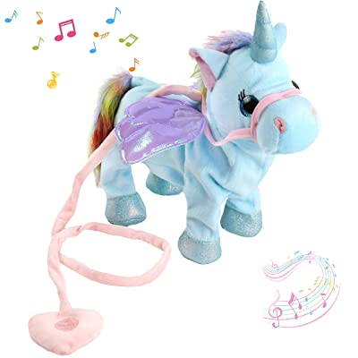 Houwsbaby Walking Unicorn Singsing Stuffed Electronic Animate Pegasus Interactive Cuddle Plush Toy Musical Space Unicorn, 10 inches (Light Blue): Toys & Games
