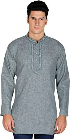 Arce Ropa India Ropa Fashion camiseta bordado para hombre corto Kurta algodón India vestido - Verde -: Amazon.es: Ropa y accesorios