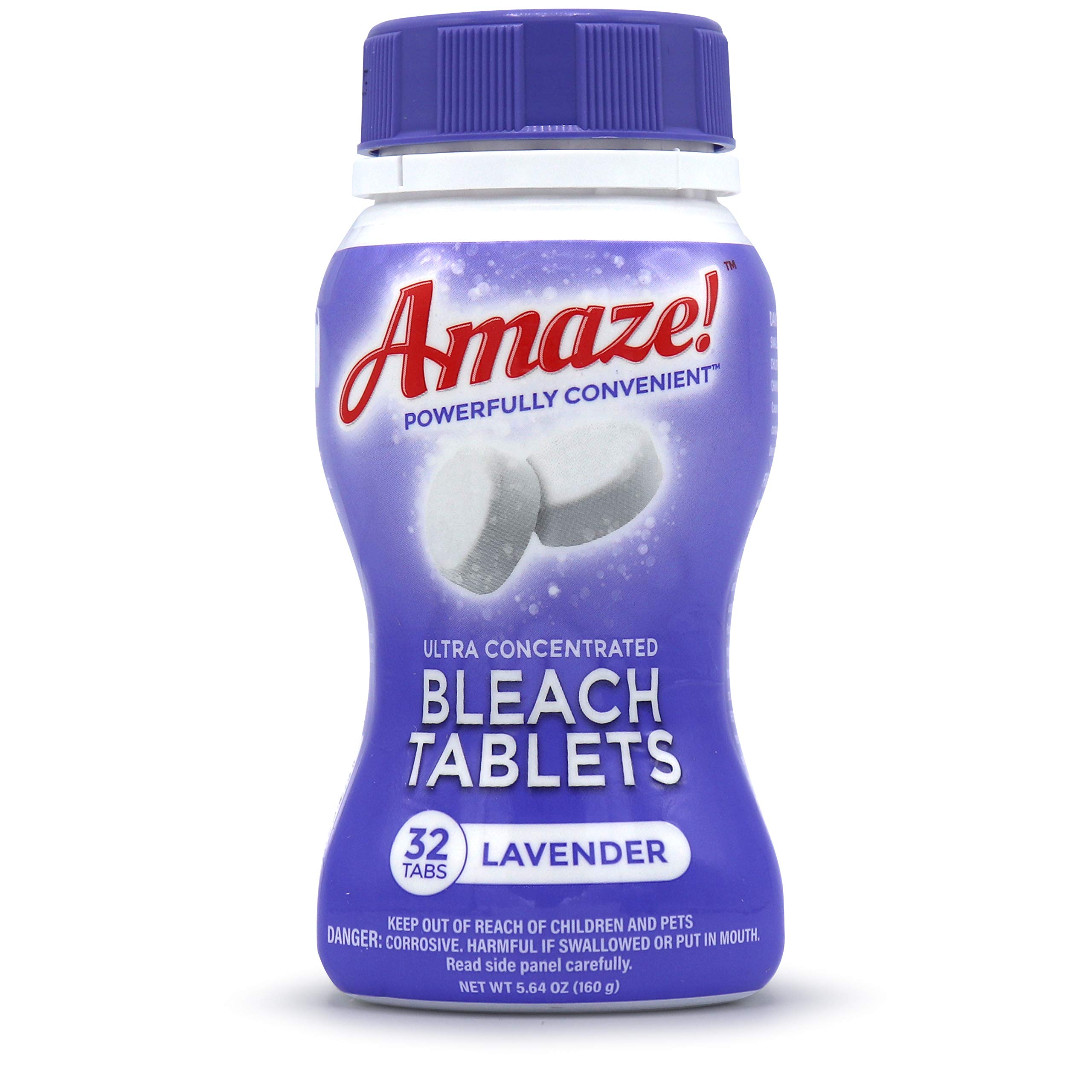 AMAZE! Bleach Tablets Ultra Concentrated Bleach Tablets for Laundry and Home Cleaning. (Lavender, Case of 6 Bottles)