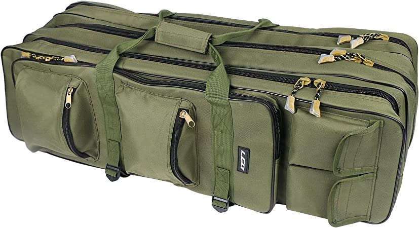 Fishing Rod Holdall Luggage Carry Bag Organizer Tackle Storage Bags Double Layer