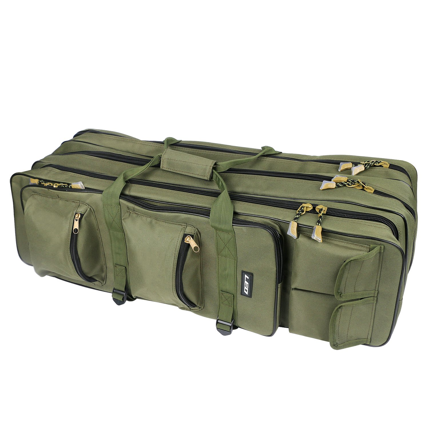 Fishing Rod Carrier Bag 31.5-Inch Portable Waterproof Canvas Fishing Pole Reel Case Storage Bag Large Capacity Triple Layer Travel Carry Case Holder Fishing Gear Organizer