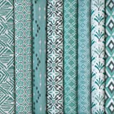 Textiles français Set of 8 Fat Quarters - Modern Tribal collection (celadon / jade) Co-ordinating French Fabric Mini Designs 100% Cotton
