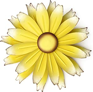 The Lakeside Collection Metal Flower Spinner for Walls - Kinetic Floral Pinwheel Windspinner - Yellow