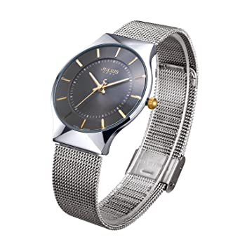 JULIUS Mens Black Dial Mesh Stainless Ultra Thin Stylish Quartz Watch Fashion Elegant Wristwatch