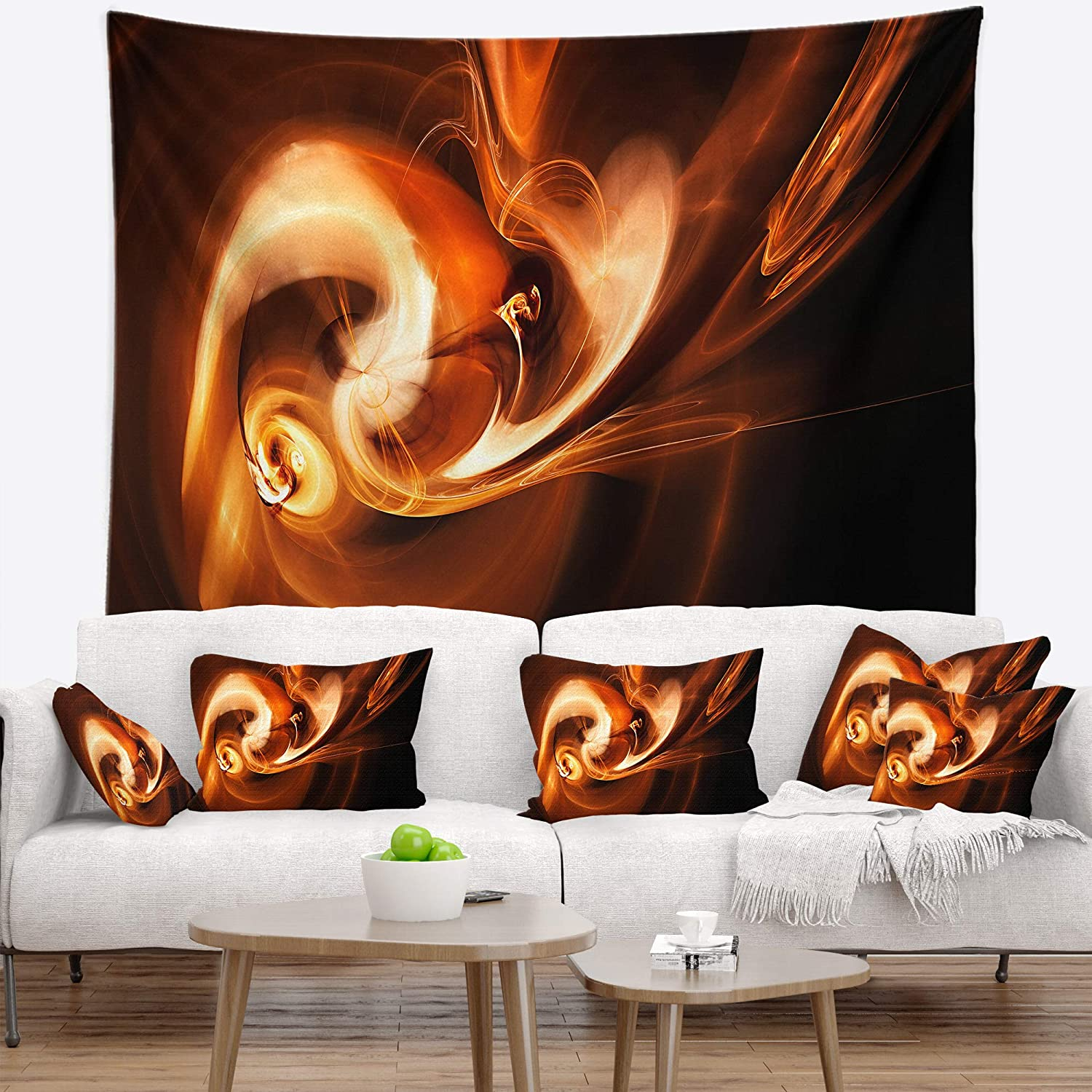 Designart TAP8058-60-50  Fractal Smoke Texture Brown Abstract Blanket D/écor Art for Home and Office Wall Tapestry Large 60 in x 50 in Created On Lightweight Polyester Fabric