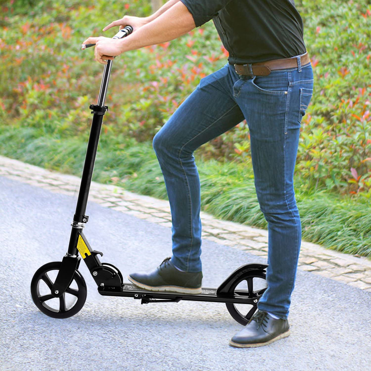 Juane Scooter for Adult Teens Youth Kids 3 Levels Adjustable Height Easy-Folding Portable Kick Scooter with 200mm Big Wheels Rear Fender Brake Max Load 220lbs Age 8 up