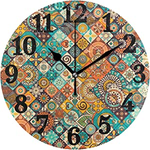 AHOMY Round Wall Clock Vintage Marble Mexican Ceramic Tile Medallion Home Art Decor Non-Ticking Numeral Clock for Home Office
