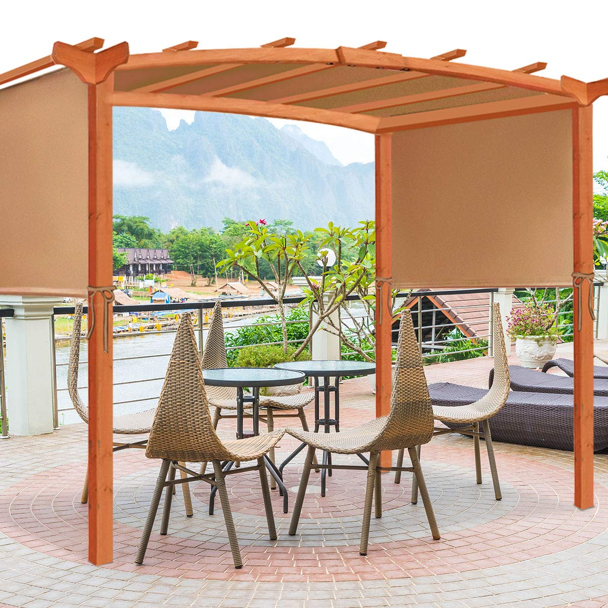 Tangkula 6.7x17 Universal Replacement Canopy for Pergola Structures