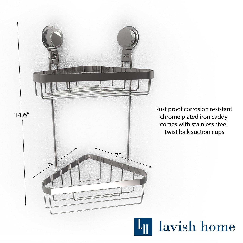 Amazon.com: Lavish Home Wall Mounted Two Tier Corner Caddy-Shower ...