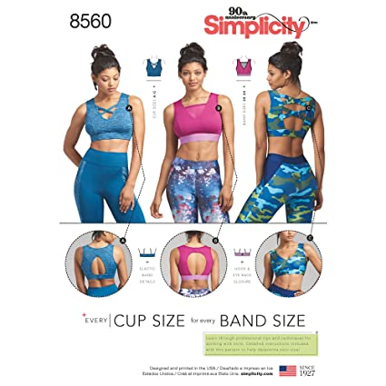 0c35abf3a Amazon.com  Simplicity Pattern 8560 Misses  Knit Sports Bras SEWING  PATTERN