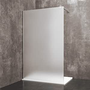 Mampara de ducha fija Walk de madera de seda, cabina de baño con barra estabilizadora, puerta de cristal templado satinado de 8 mm, reversible, perfil de pared de aluminio anodizado: Amazon.es: Bricolaje