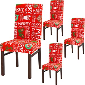 Aneco 4 Pack Stretch Removable Washable Dining Room Chair Protector Slipcovers Christmas Decoration Dining Room Seat Cover (Vermilion)