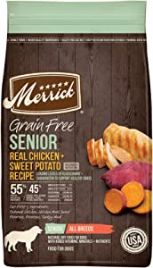 Merrick Grain Free Senior Chicken + Sweet Potato Recipe Dry Dog Food, 4 lbs.