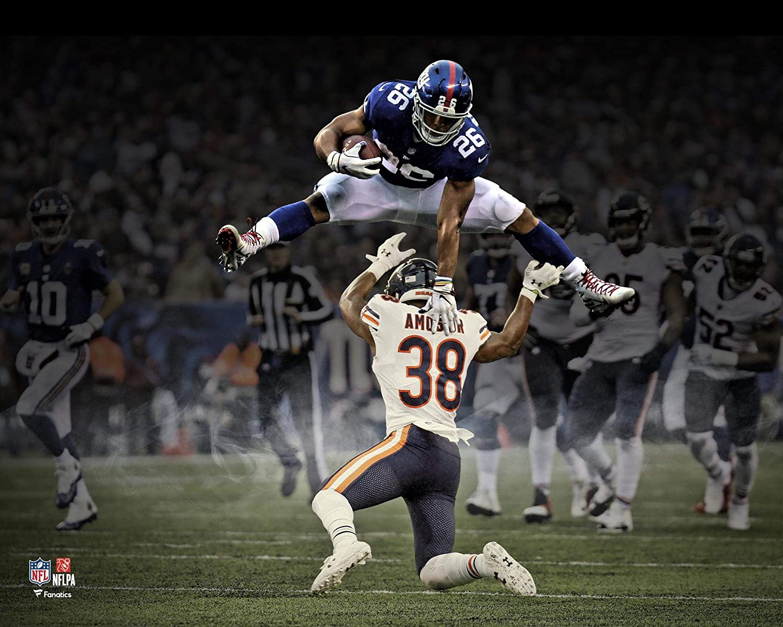 Saquon Barkley New York Giants Hurdle Unsigned Photograph