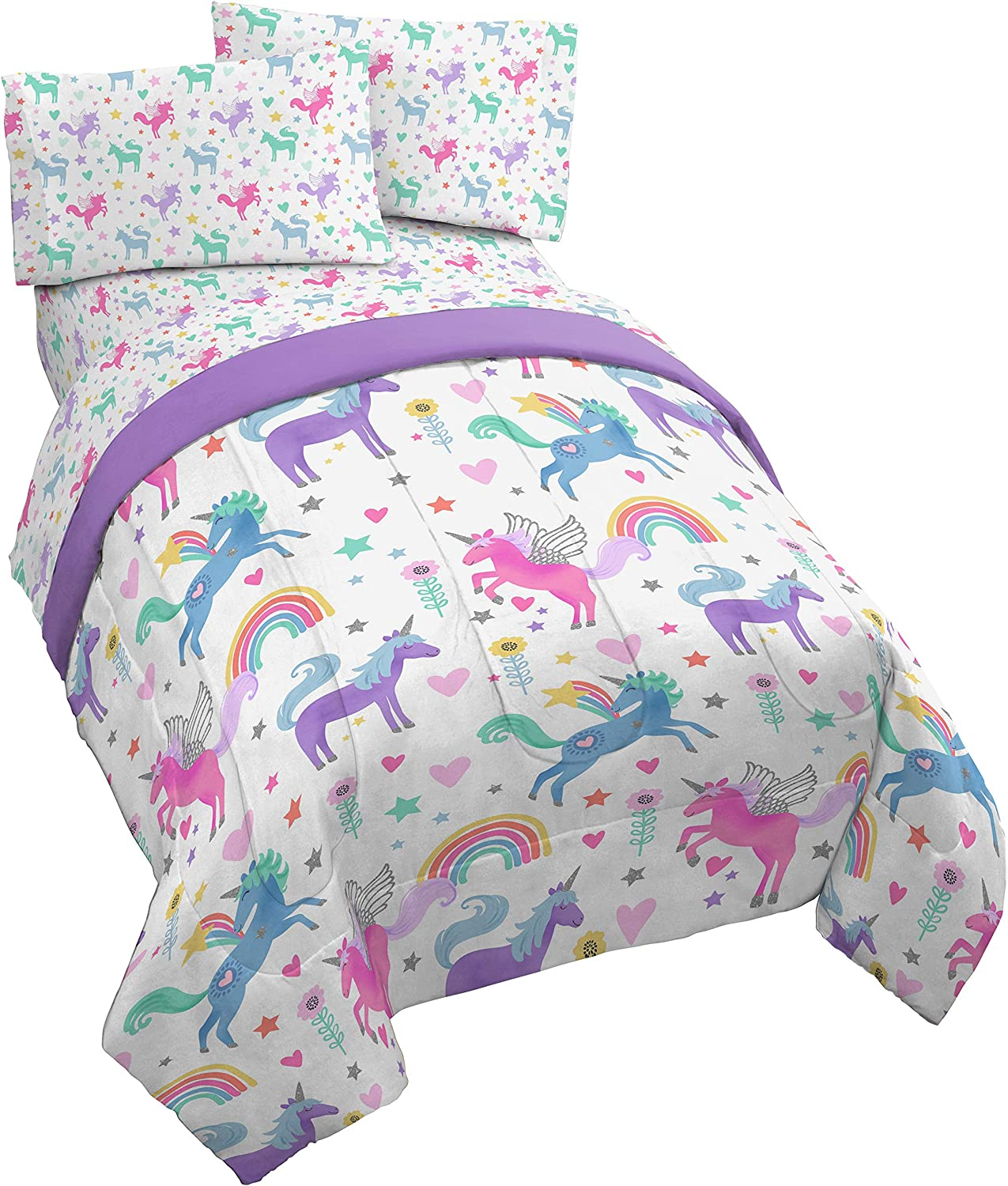 Dream Factory Unicorn Rainbow Ultra Soft Microfiber Comforter Set Full Purple