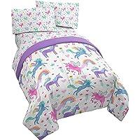 Jay Franco Unicorn Rainbow 4 Piece Twin Bed Set - Includes Comforter & Sheet Set - Super Soft Fade Resistant Microfiber