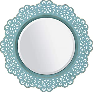 CKK Industrial LTD Stonebriar Round Decorative Metal Lace Hanging Wall Mirror with Attached Hanger, Blue with Brass Highlights