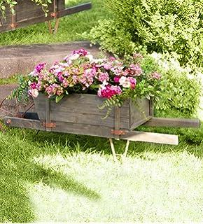Extra Large Decorative Wood Garden Wheelbarrow Outdoor Decorative Planter  50.5 L X 17 W X 16.25