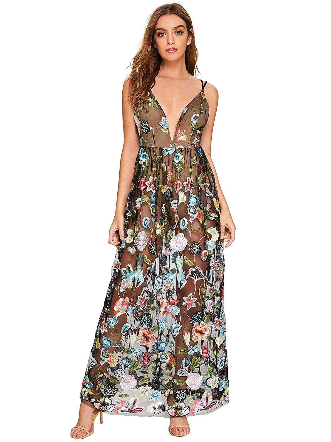 87d7614c1f DIDK Women's Embroidered Mesh Overlay Bodysuit Maxi Dress at Amazon Women's  Clothing store: