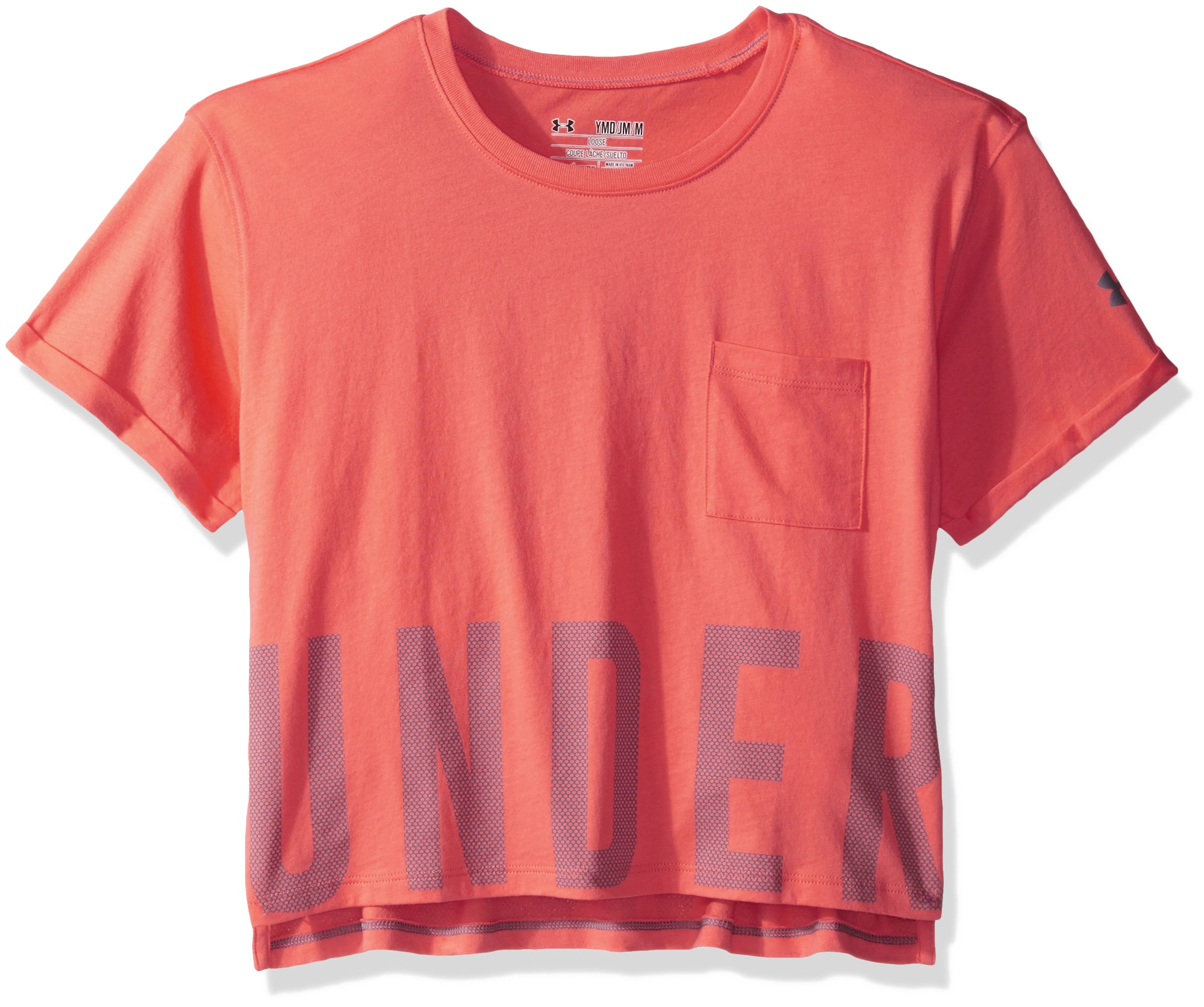 Under Armour Girls' Studio Short Sleeve T-Shirt, London Orange /Flint, Youth Medium by Under Armour