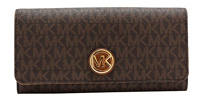 57857ed8844a Michael Kors Fulton Flap Continental Wallet - Signature PVC (Brown   Acorn)