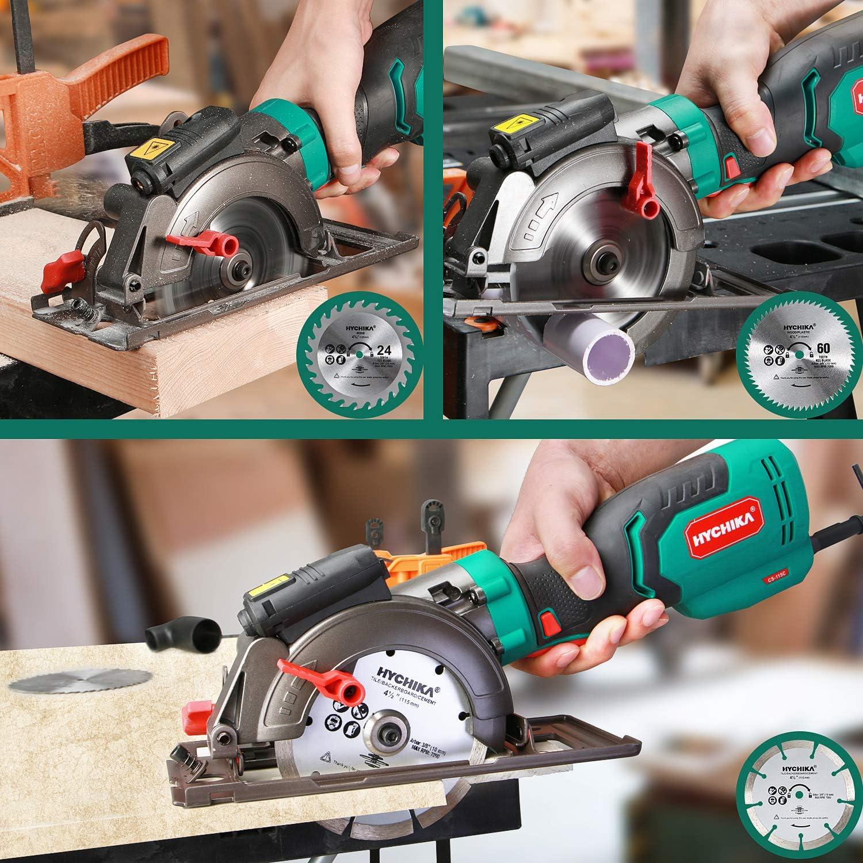 Mini Kreiss/äge Schnitttiefe 90/°: 48mm//45/°: 32mm HYCHIKA 750W 3500U Handkreiss/äge mit 6 S/ägebl/ättern f/ür Holz Fliesen und Kunststoffschnitt Weichmetall Laserf/ührung
